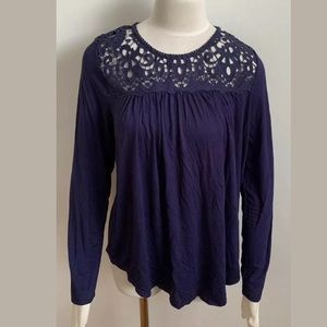 Philosophy Crochet Top Shirt Blue Women's Size M